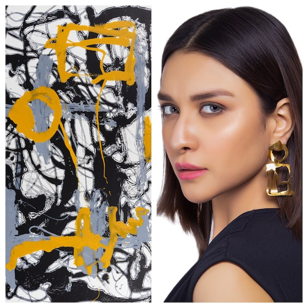 Jackson Pollock's modern art inspires these designs, which are contemporary and chic.